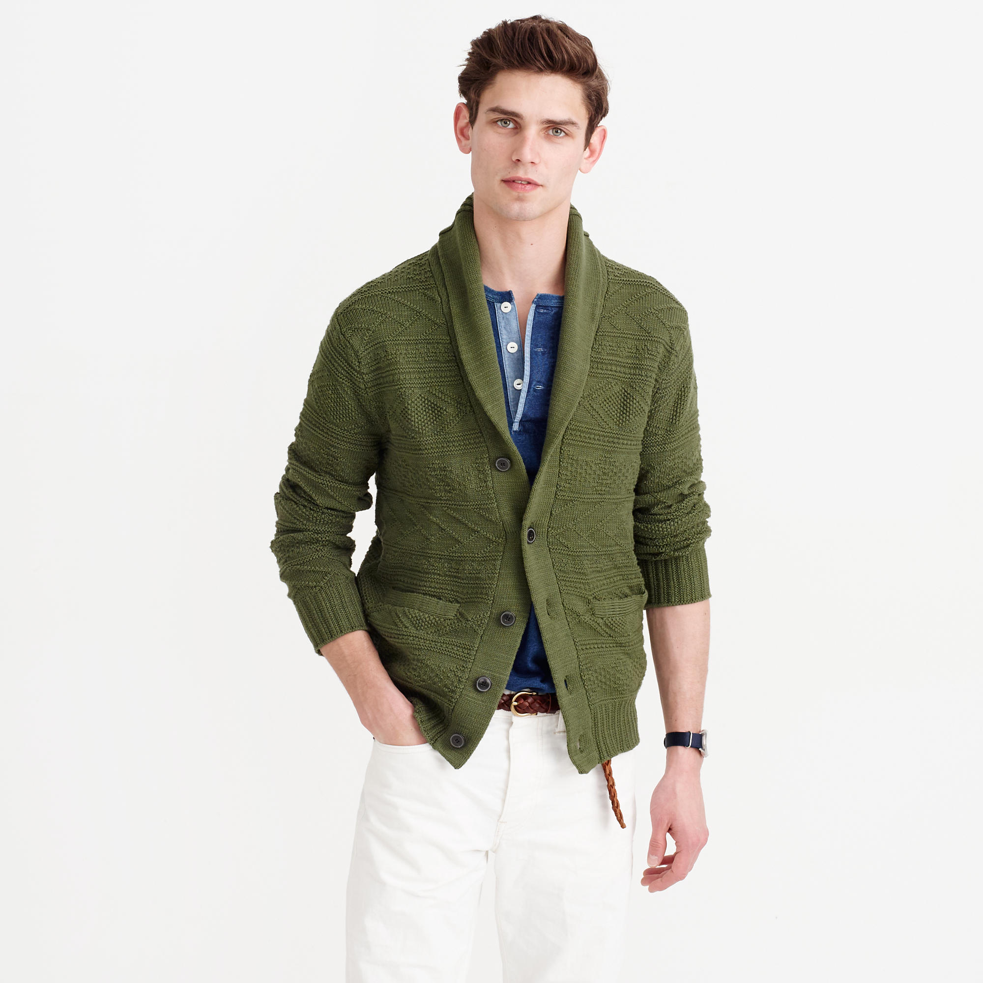 Cotton Shawl-Collar Cardigan Sweater